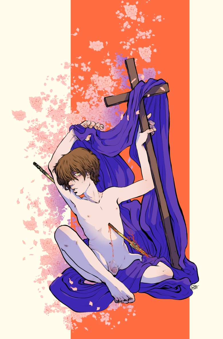 illustration by k. m. claude of a nude youth pierced by a lance sits holding a cross draped in violet fabric with pink roses and cherry blossoms in the background